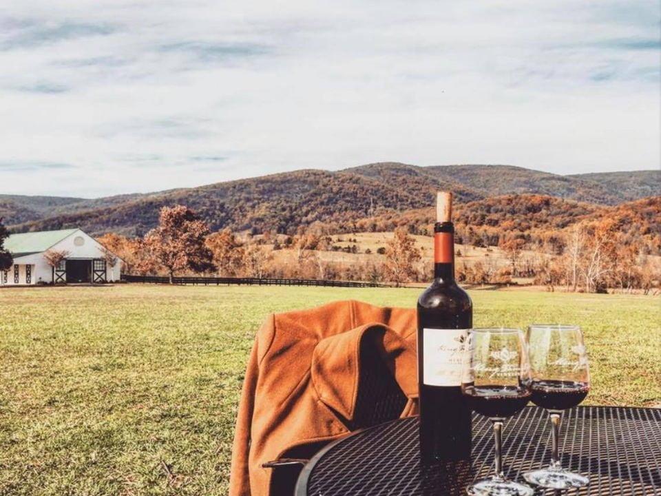 vignoble bouteille et 2 verres de vin rouge sur une table en plein-air sur le domaine avec établissement vinicole et vue des montagnes aux couleurs d'automne king family vineyards crozet virginie états unis ulocal produits locaux achat local produits du terroir locavore touriste