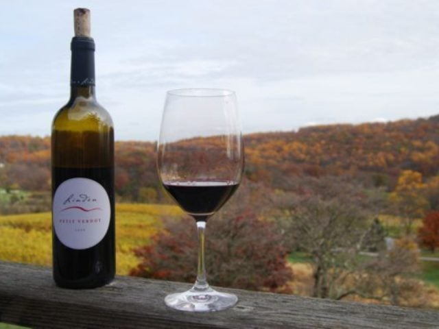vineyards bottle of red wine on the edge of the terrace with a view of the mountains in autumn linden vineyards linden virginia united states ulocal local products local purchase local produce locavore tourist