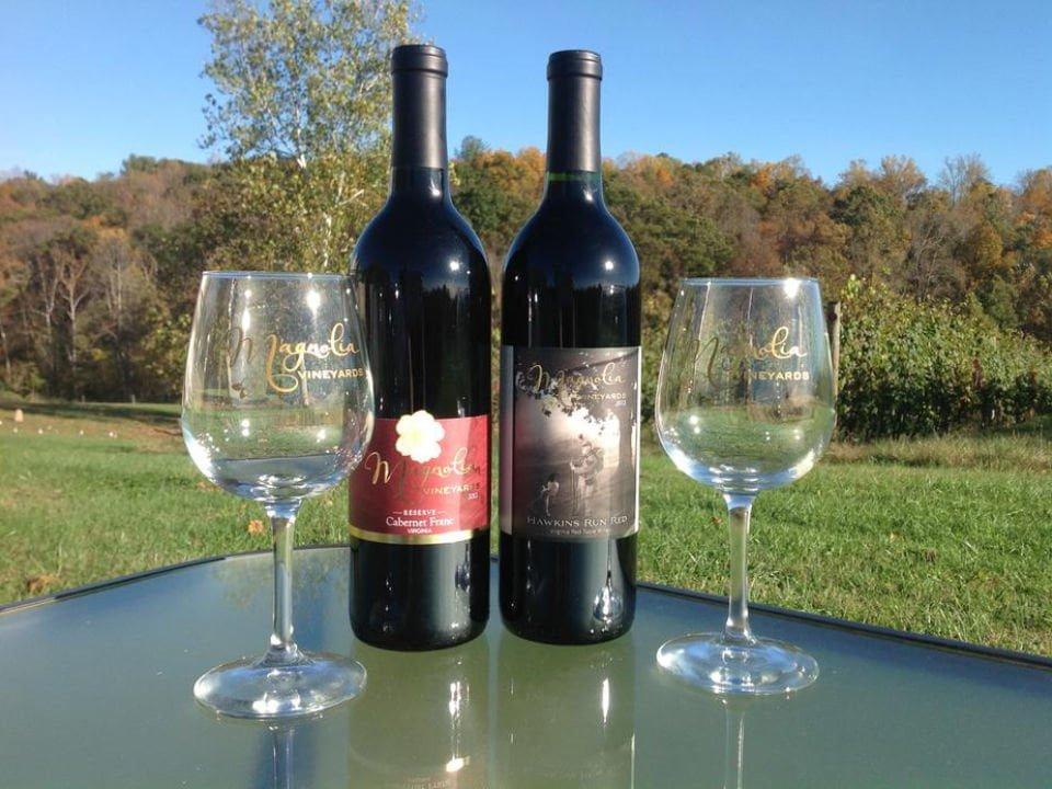 vignoble 2 bouteilles et 2 verres de vin sur une table en plein-air avec vignes magnolia vineyards and winery amissville virginie états unis ulocal produits locaux achat local produits du terroir locavore touriste