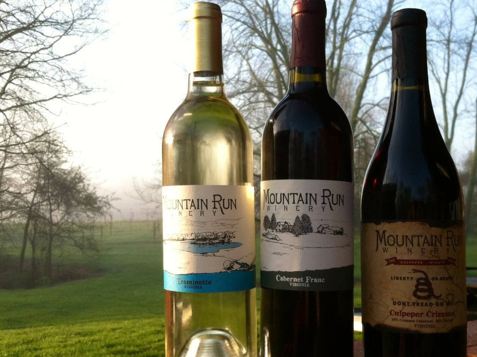 vineyards assortment of 3 wine bottles with a view of the vineyards mountain run winery culpeper virginia united states ulocal local products local purchase local produce locavore tourist