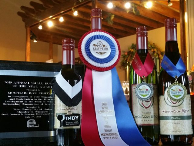 vineyards assortment of 4 award-winning bottles of wine mountainrose vineyards wise virginia united states ulocal local products local purchase local produce locavore tourist