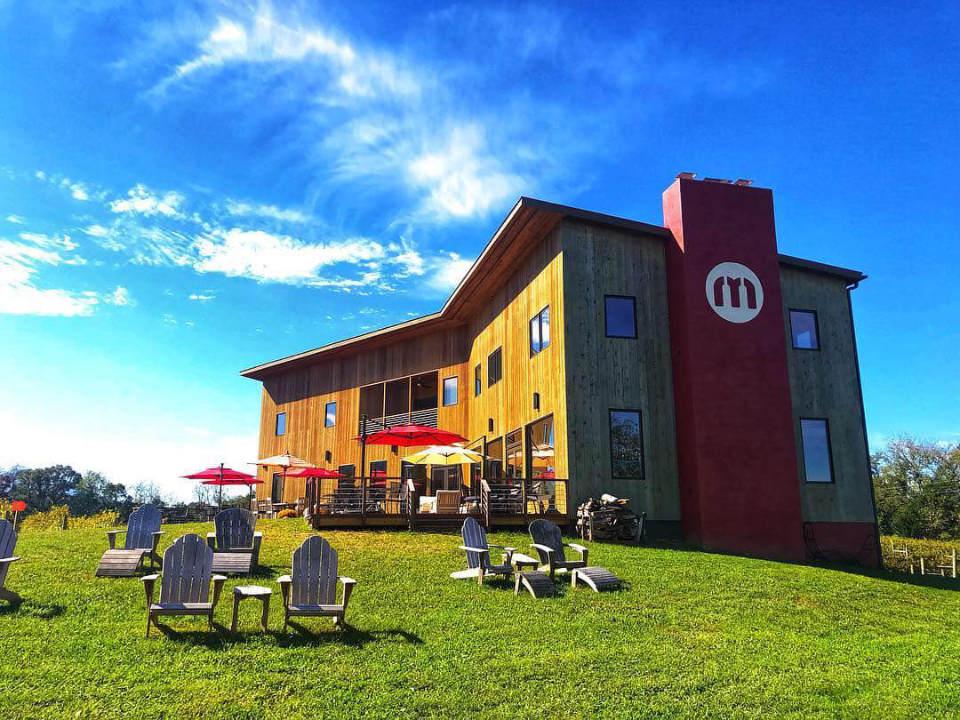 vignoble établissement vinicole avec terrasse et chaises sur le terrain en été muse vineyards woodstock virginie états unis ulocal produits locaux achat local produits du terroir locavore touriste
