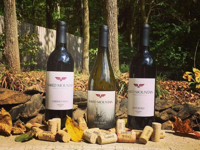 vineyards assortment of 3 wine bottles with corks outdoor naked mountain vineyard markham virginia united states ulocal local products local purchase local produce locavore tourist