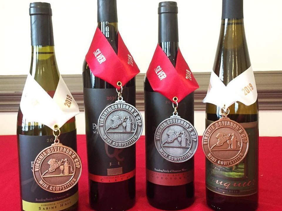 vineyards assortment of 4 award-winning bottles of wine philip carter winery hume virginia united states ulocal local products local purchase local produce locavore tourist