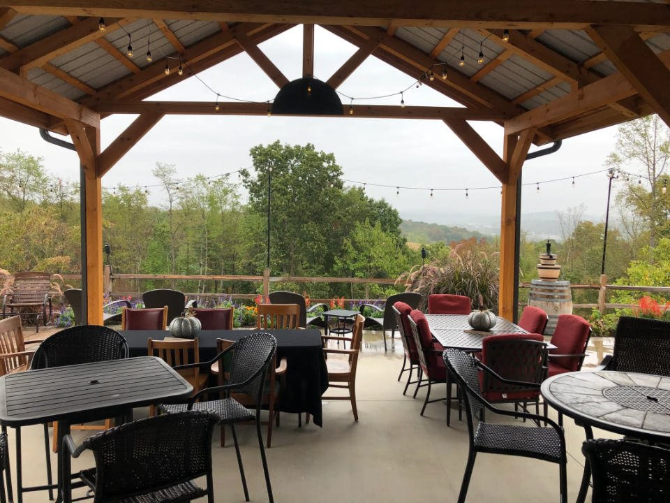 vineyards cozy terrace porch with tables and mountain views the new river vineyard and winery fairlawn virginia united states ulocal local products local purchase local produce locavore tourist
