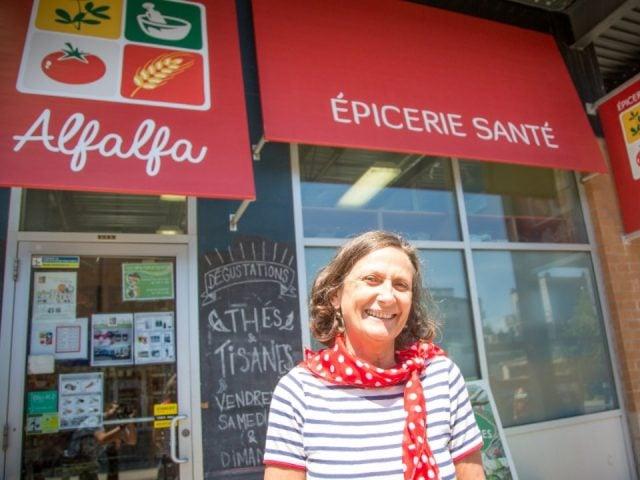 specialty grocery store shop facade alfalfa epicerie sante montreal quebec canada ulocal local products local purchase local produce locavore tourist