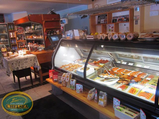 specialty grocery store interior of the delicatessen with refrigerated counters boucanerie chelsea smokehouse chelsea quebec canada ulocal local products local purchase local produce locavore tourist