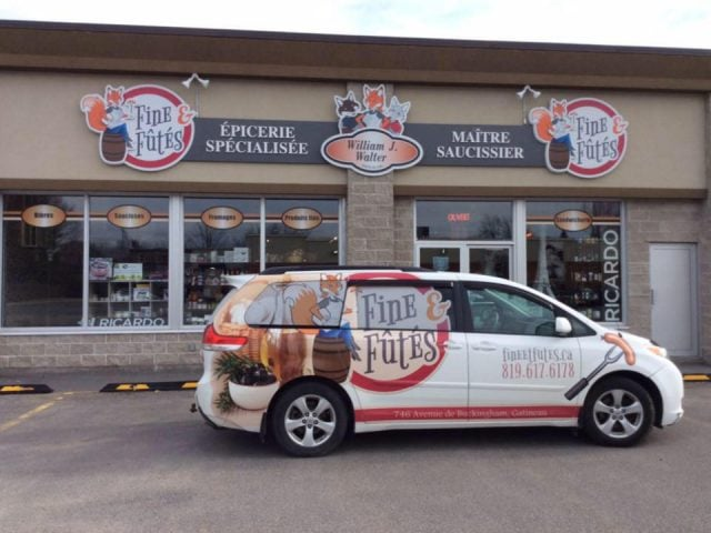 specialty grocery store van and facade with logo and sign fine et futes gatineau quebec canada ulocal local products local purchase local produce locavore tourist