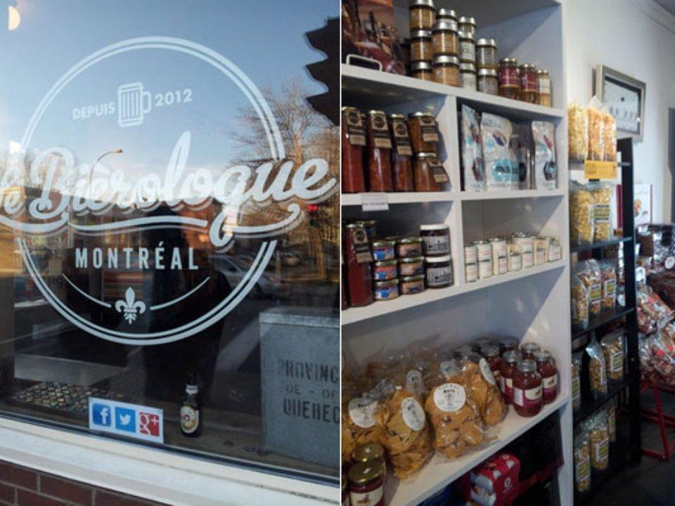 épicerie spécialisée facade extérieure de la boutique et produits locaux le bierologue montréal quebec canada ulocal produits locaux achat local produits du terroir locavore touriste