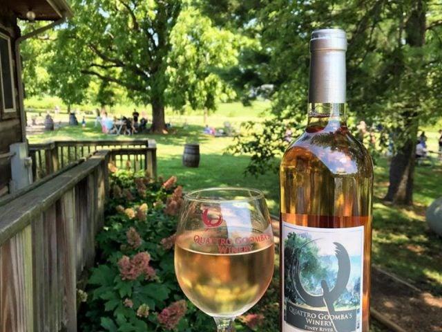 vignoble domaine avec gens et bouteille et verre de vin rosé quattro goombas winery aldie virginia états unis ulocal produits locaux achat local produits du terroir locavore touriste