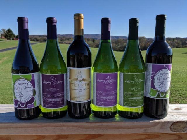 vignoble bouteilles de vin spinning jenny vineyard draper virginie états unis ulocal produits locaux achat local produits du terroir locavore touriste