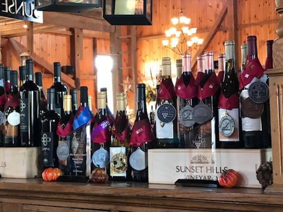 vineyards award-winning bottles of wine sunset hills vineyard and winery purcellville virginia united states ulocal local products local purchase local produce locavore tourist