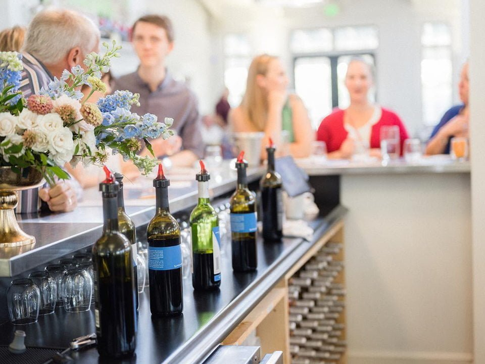 vineyards tasting bar with customers upper shirley vineyards charles city virginia united states ulocal local products local purchase local produce locavore tourist