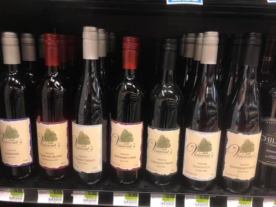 vineyards bottles of wine vincents vineyard lebanon virginia united states ulocal local products local purchase local produce locavore tourist