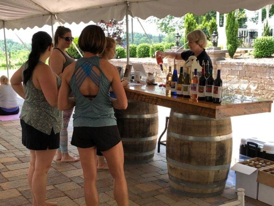 vineyards outdoor tasting bar with customers virginia mountain vineyards fincastle virginia united states ulocal local products local purchase local produce locavore tourist