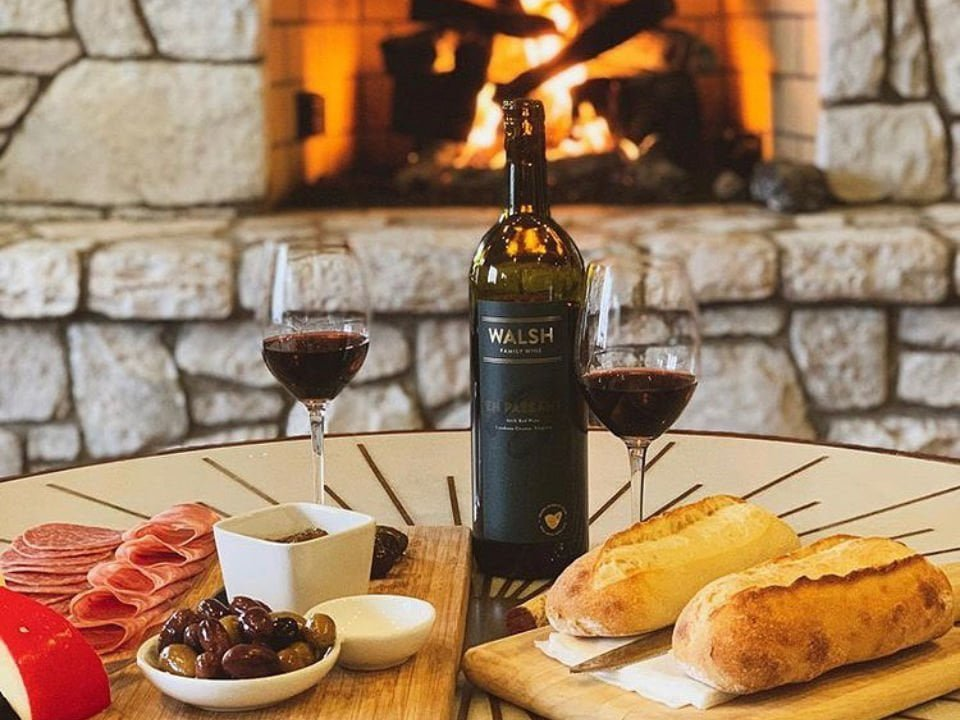 vineyards bottle of wine with cold cuts and fire walsh family wines purcellville virginia united states ulocal local products local purchase local produce locavore tourist